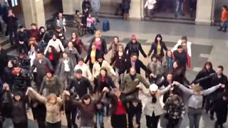 Flashmob at the railway station in Rousse