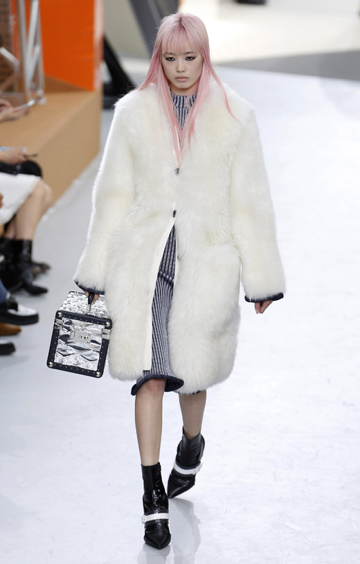 Fur, animal prints and box-like handbags by Louis Vuitton for Fall-Winter 2015/2016