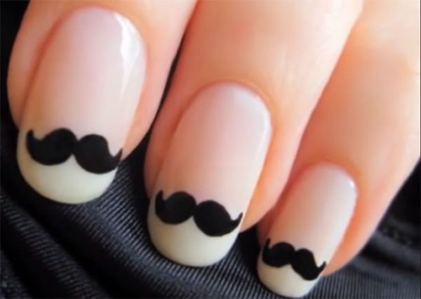 Cute Mustache Nail Art Tutotial
