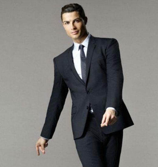 Black suit dark red tie