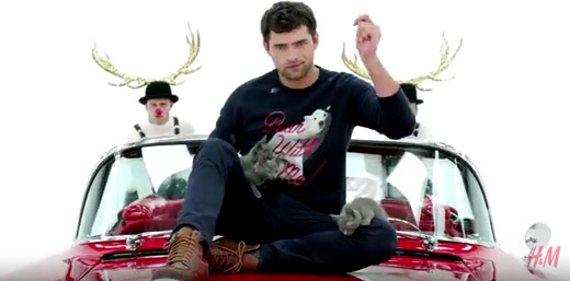 Sean O'Pry alongside Katy Perry in H&M's 2015 Christmas campaign