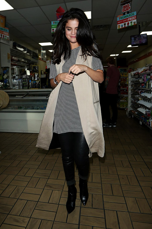 Selena Gomez wears LaMarque leather leggings for Tori Kelly's album release party