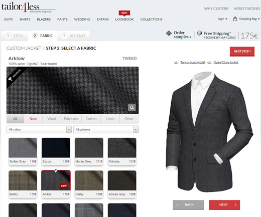 Made-to-measure suits online from Tailor4less