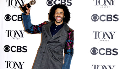 Daveed Diggs with an interesting suit at the 70th Tony Awards