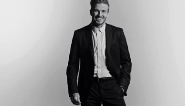 David Beckham in a partnership with Biotherm Homme