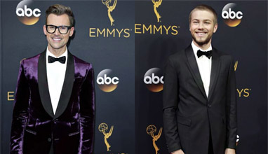 Men's elegance on the Emmy Awards 2016 Red carpet -  variations of tuxedo and even a try for a boutonnière