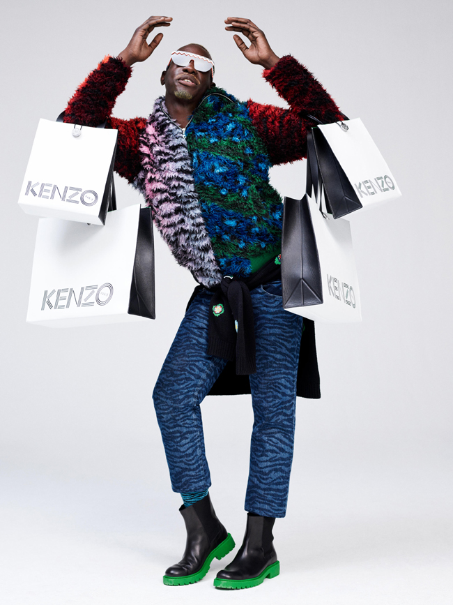 Menswear looks from the collaboration of H&M and KENZO