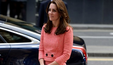 Kate Middleton in a 60s inspired skirt suit by Bulgarian designer Petar Petrov