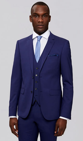 Blue men's suits by Moss Bros