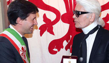 Pitti Uomo 90, visited by Karl Lagerfeld