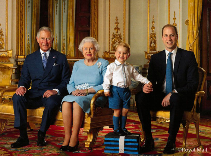Prince George with first postage stamp royal appearance