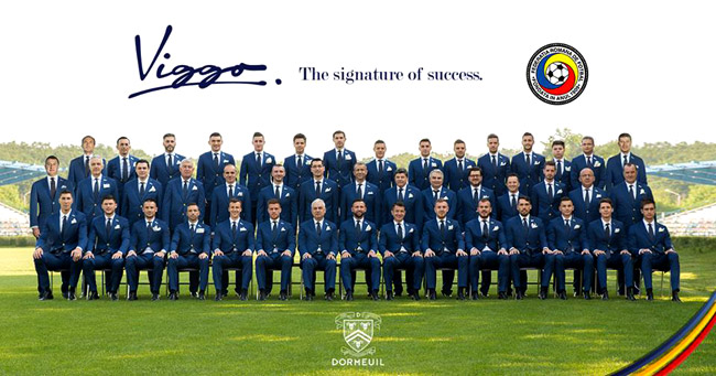 Romanian football team dressed in tailored suits by Viggo and Dormeuil for UEFA Euro 2016