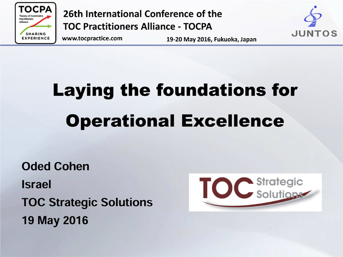 Laying the foundations for Operational Excellence