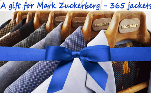 The Men's Fashion Cluster Academy gives 365 men's suit jackets as a gift to Mark Zuckerberg