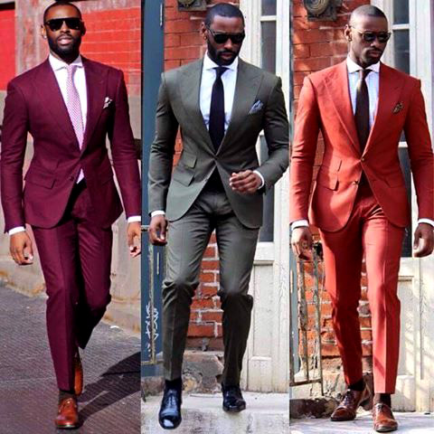 One suit design in three different colors