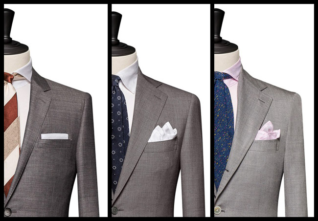 Men's suit jacket collars and lapels