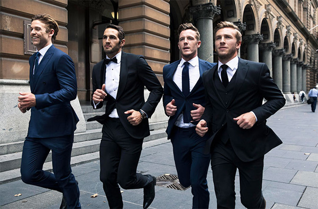 Australian label Farage sees leading AFL players from the Sydney Swans running through Sydney's CBD dressed to impress