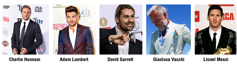 Most Stylish Men 2017 for August - Top 5 is still the same - Charlie Hunnam, Adam Lambert, David Garrett, Gianluca Vacchi, Lionel Messi