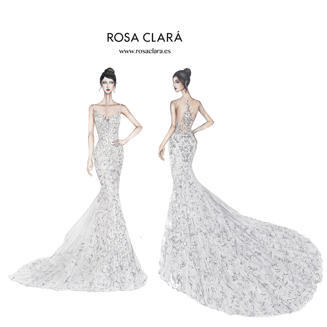 Rosa Clara designs Antonela Roccuzzo's wedding dress