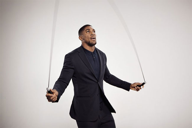 Anthony Joshua is the face of BOSS stretch tailoring